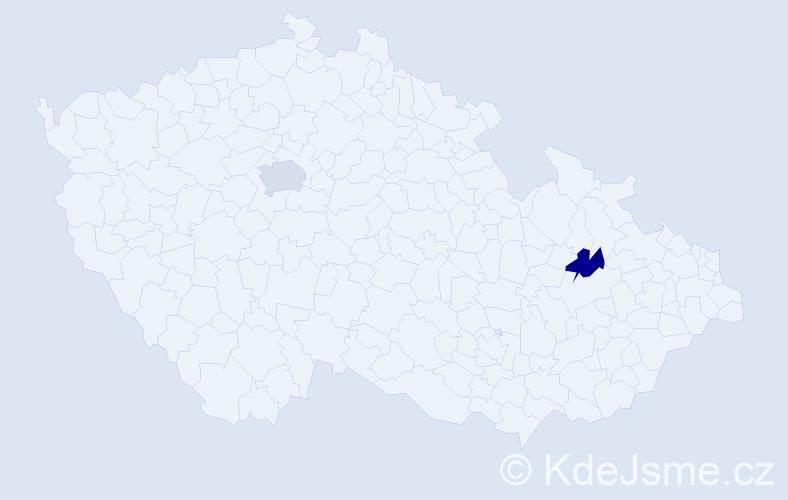 """Příjmení: '""""Le Lievre""""', počet výskytů 5 v celé ČR"""