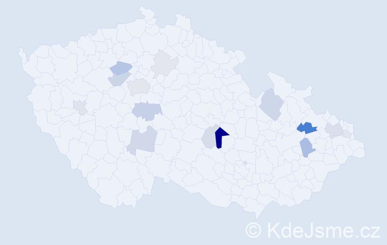 Příjmení: 'Kostecká', počet výskytů 40 v celé ČR