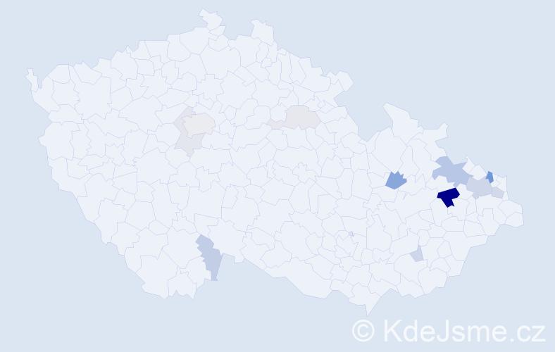 Příjmení: 'Egyed', počet výskytů 32 v celé ČR