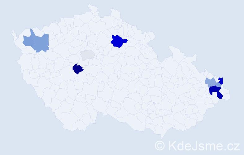 Příjmení: 'Kuznik', počet výskytů 16 v celé ČR