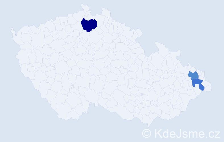 Příjmení: 'Halabalíková', počet výskytů 9 v celé ČR