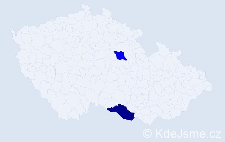 Příjmení: 'Bocorová', počet výskytů 2 v celé ČR