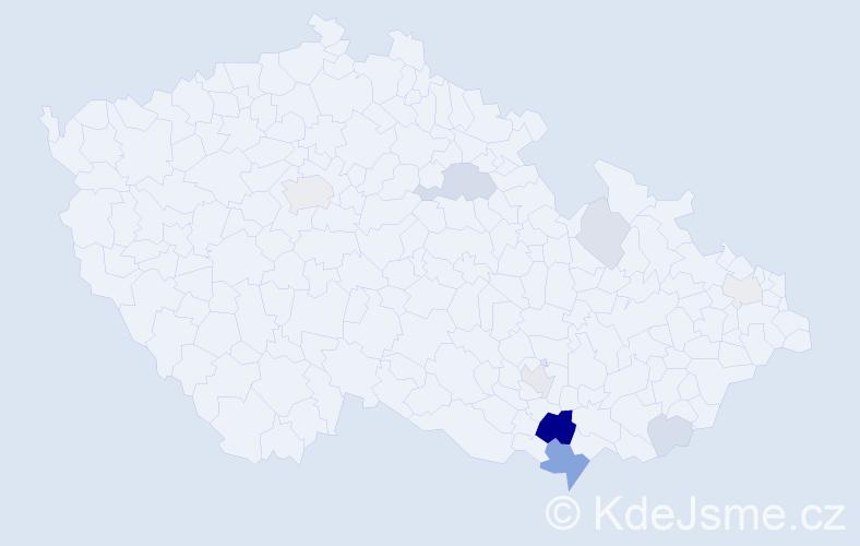 Příjmení: 'Čačík', počet výskytů 27 v celé ČR