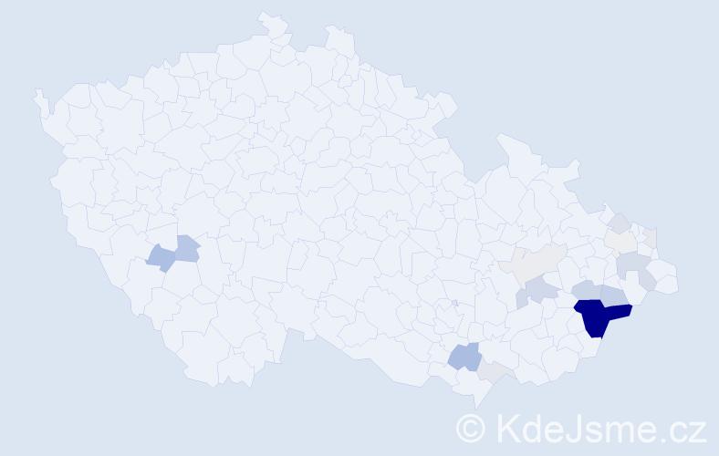 Příjmení: 'Čotek', počet výskytů 60 v celé ČR