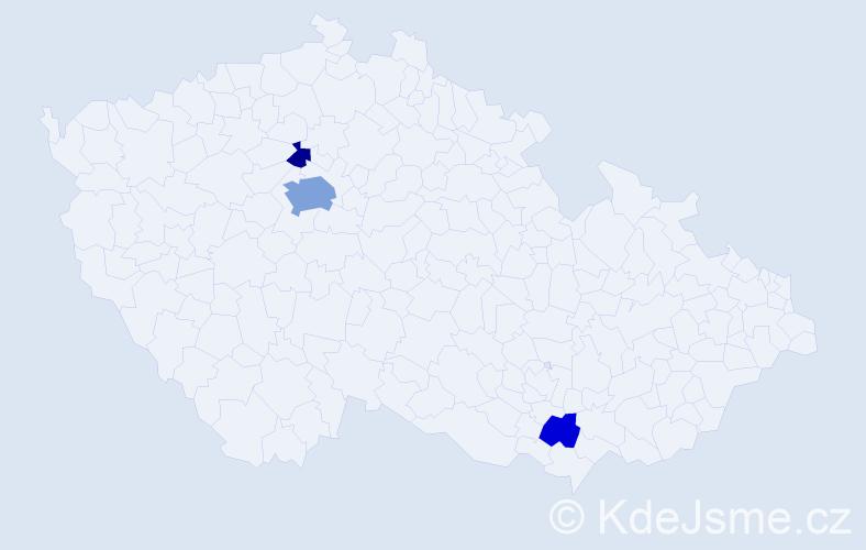 Příjmení: 'Herleová', počet výskytů 8 v celé ČR