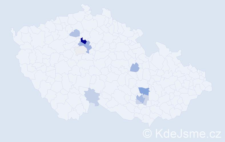 Příjmení: 'Kavínová', počet výskytů 27 v celé ČR
