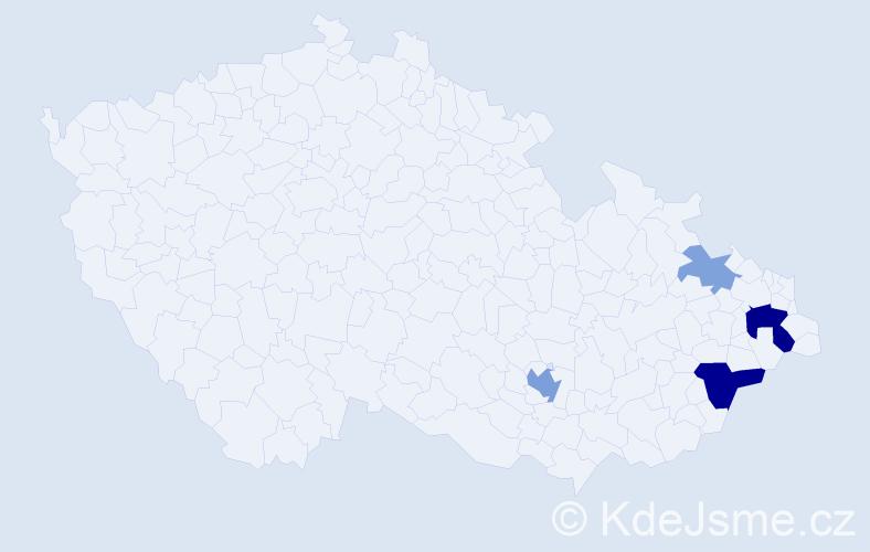Příjmení: 'Cádriková', počet výskytů 11 v celé ČR