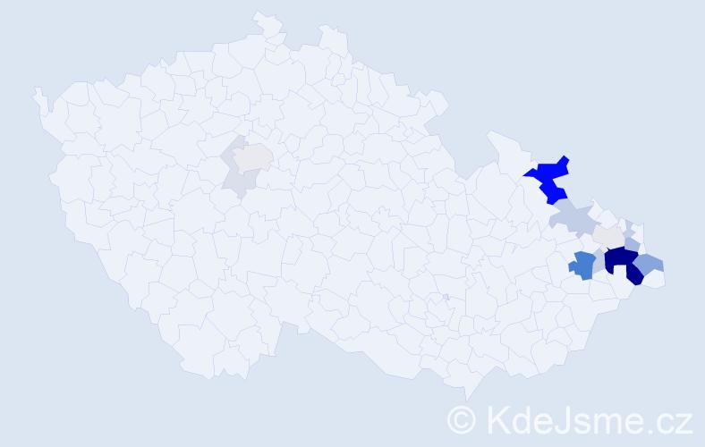 Příjmení: 'Čubok', počet výskytů 50 v celé ČR