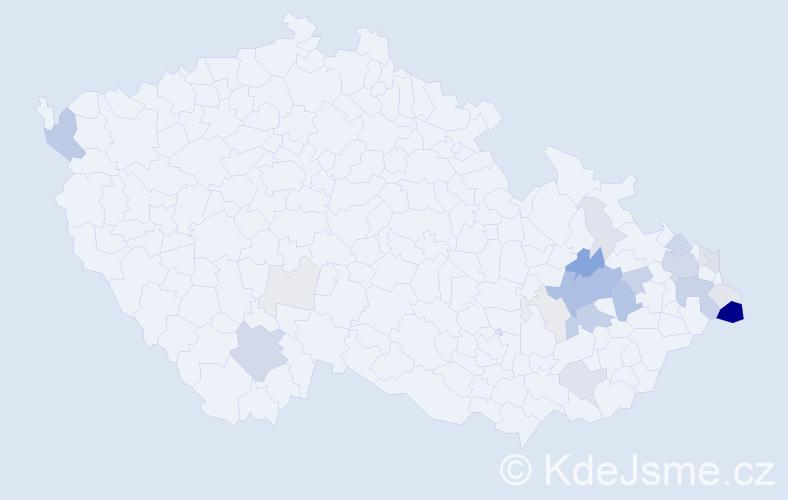 Příjmení: 'Lýsek', počet výskytů 74 v celé ČR