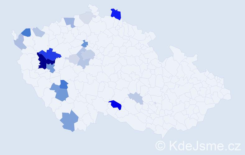 Příjmení: 'Hakrová', počet výskytů 82 v celé ČR