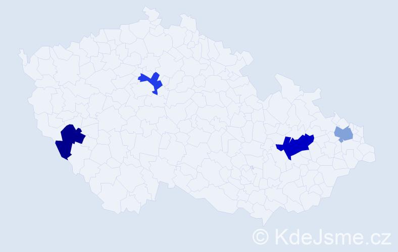 Příjmení: 'Hava', počet výskytů 5 v celé ČR