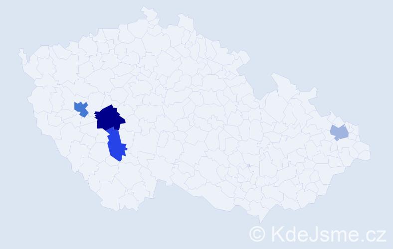 Příjmení: 'Kolegová', počet výskytů 6 v celé ČR