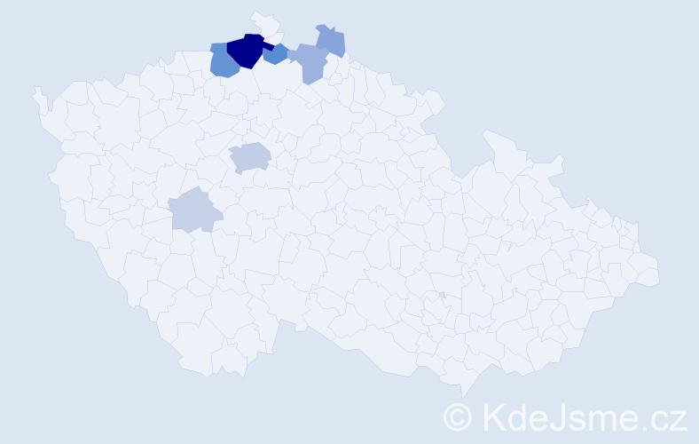 Příjmení: 'Kny', počet výskytů 37 v celé ČR
