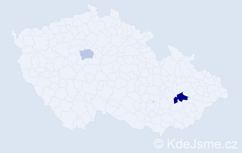 Příjmení: 'Kačányi', počet výskytů 2 v celé ČR