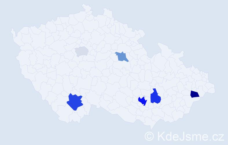 Příjmení: 'Čuhajová', počet výskytů 11 v celé ČR