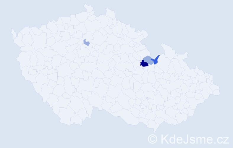 Příjmení: 'Gabrisová', počet výskytů 8 v celé ČR