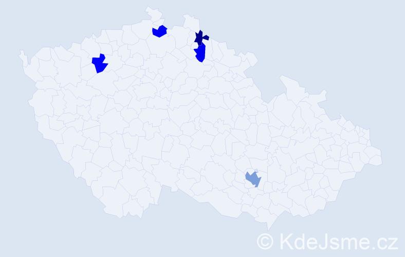 Příjmení: 'Baánová', počet výskytů 7 v celé ČR