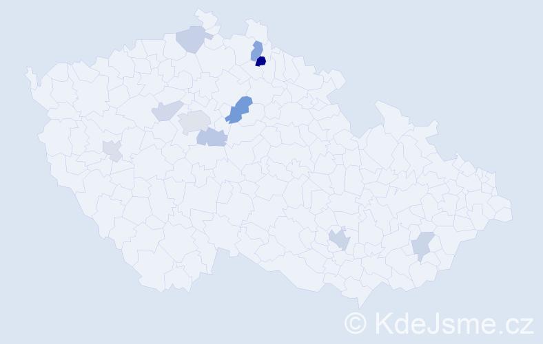 Příjmení: 'Čánská', počet výskytů 18 v celé ČR