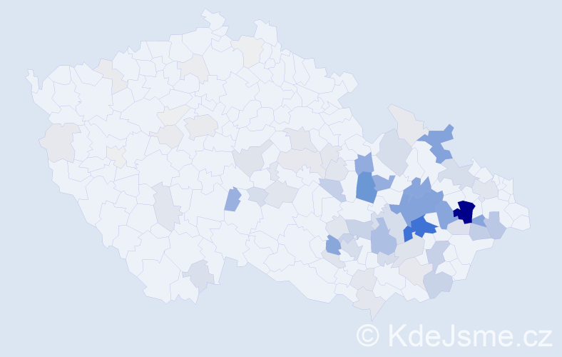 Příjmení: 'Dorazil', počet výskytů 315 v celé ČR
