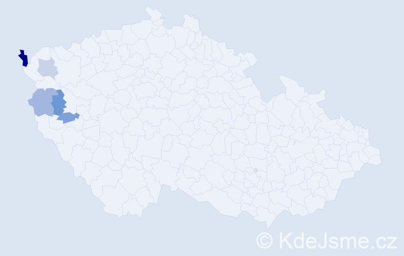 Příjmení: 'Hakeĺ', počet výskytů 7 v celé ČR
