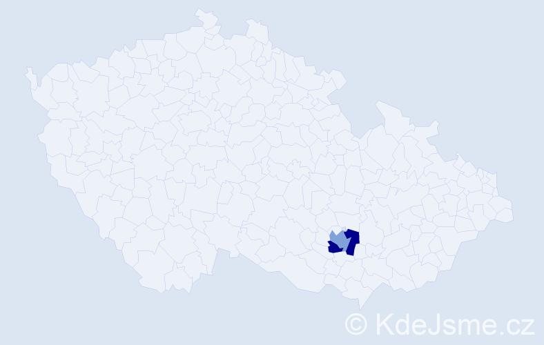 Příjmení: 'Hude', počet výskytů 6 v celé ČR