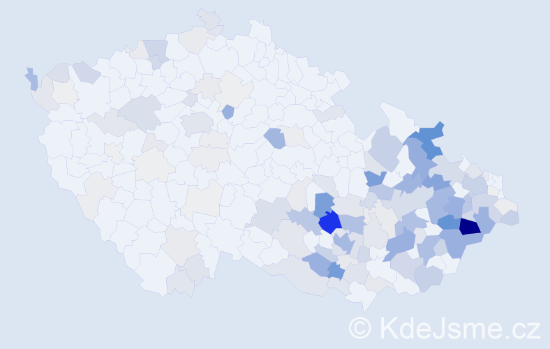 Příjmení: 'Juříček', počet výskytů 592 v celé ČR