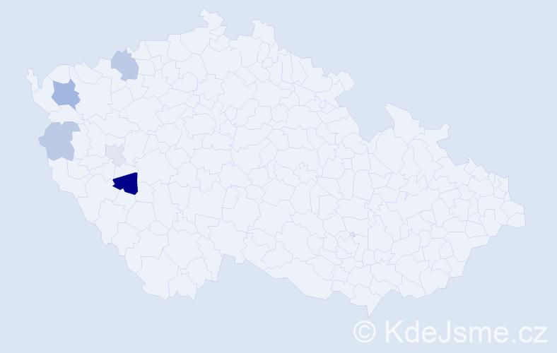 Příjmení: 'Čengery', počet výskytů 10 v celé ČR