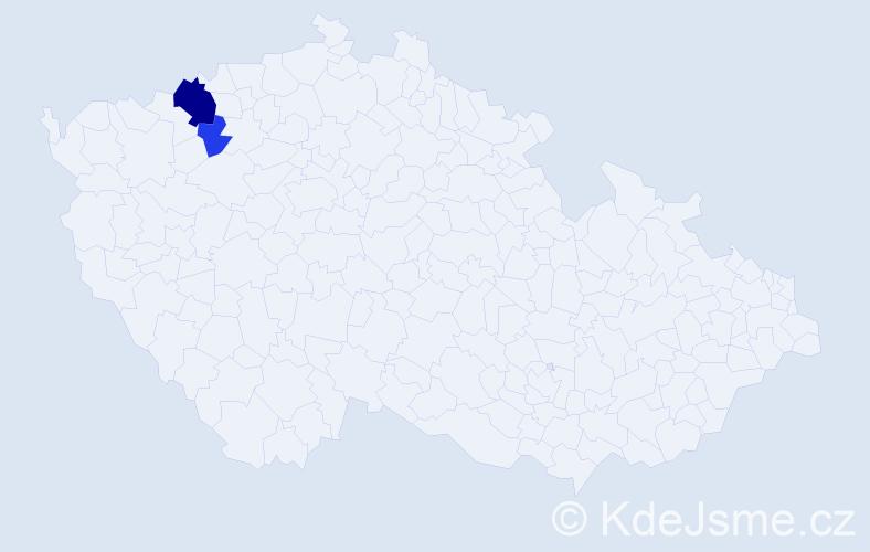 Příjmení: 'Kalauzová', počet výskytů 10 v celé ČR
