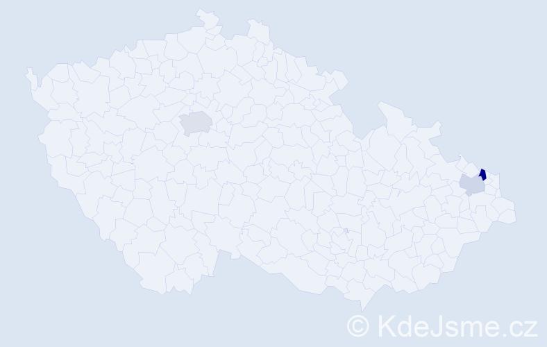 Příjmení: 'Hatiar', počet výskytů 5 v celé ČR