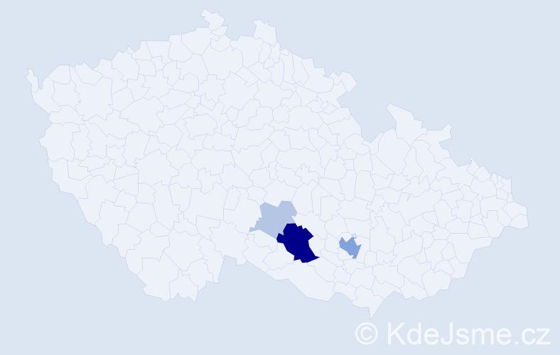 Příjmení: 'Hamžová', počet výskytů 14 v celé ČR