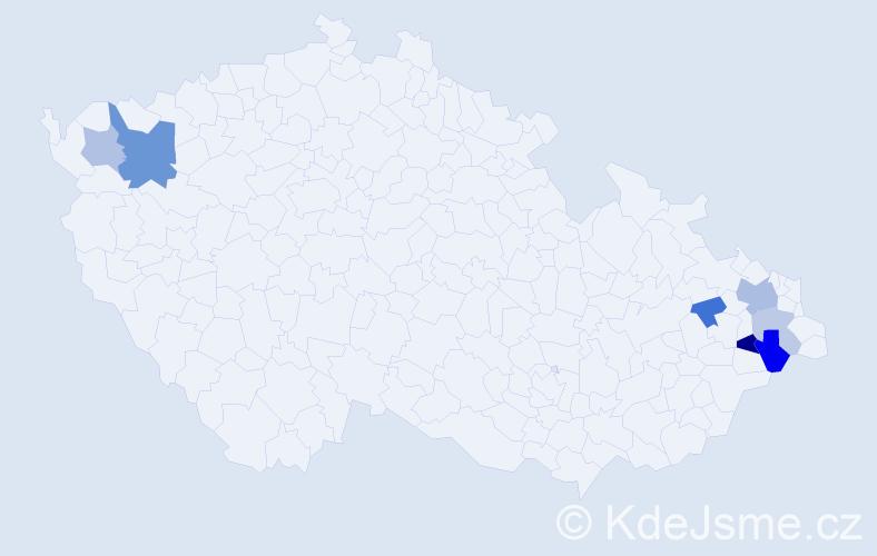 Příjmení: 'Gvarda', počet výskytů 13 v celé ČR