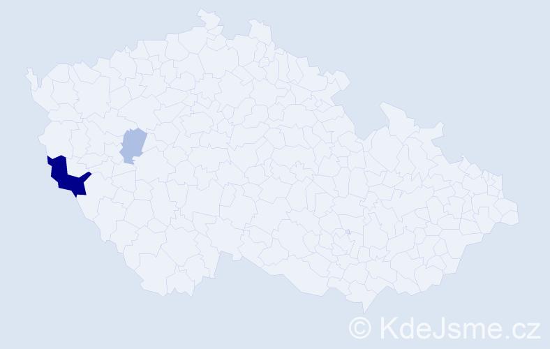 Příjmení: 'Iha', počet výskytů 7 v celé ČR