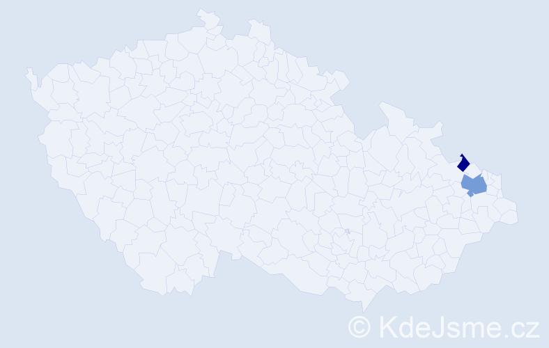Příjmení: 'Dalmadyová', počet výskytů 4 v celé ČR