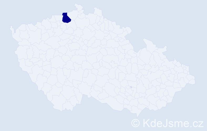 """Příjmení: '""""Káčerík-Tulec""""', počet výskytů 1 v celé ČR"""