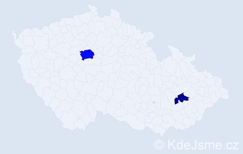 Příjmení: 'Ge', počet výskytů 8 v celé ČR