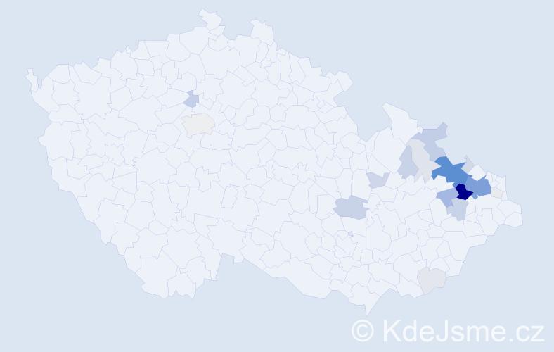 Příjmení: 'Krayzlová', počet výskytů 108 v celé ČR