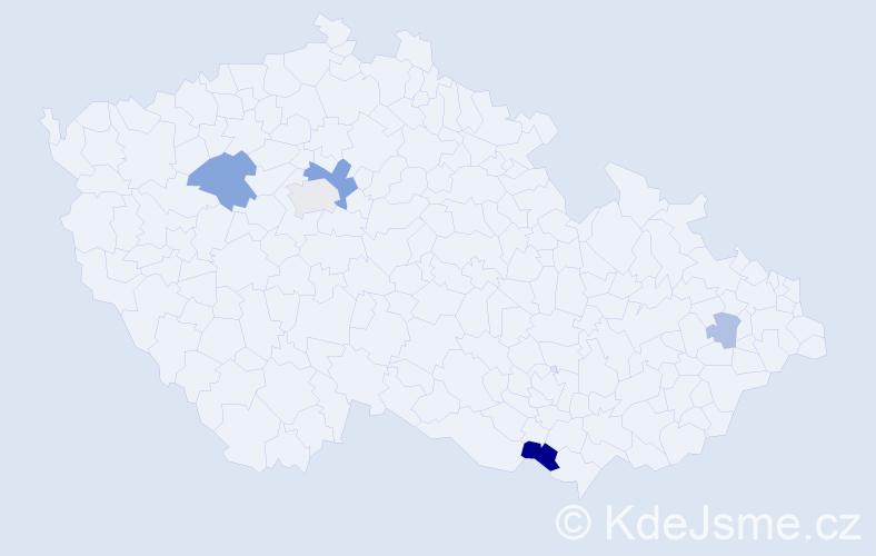 Příjmení: 'Korenková', počet výskytů 11 v celé ČR