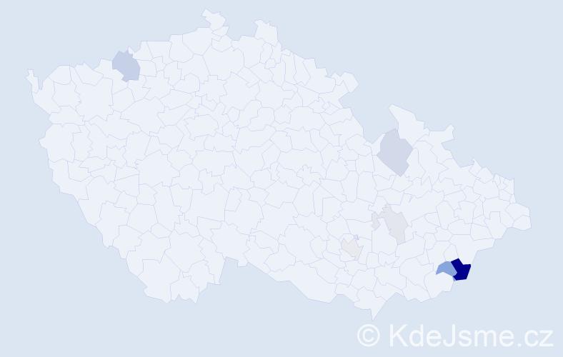Příjmení: 'Hošík', počet výskytů 21 v celé ČR