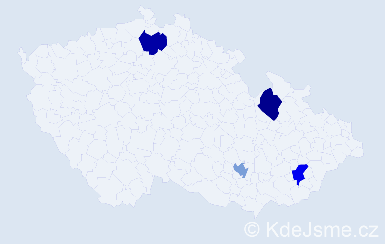 Příjmení: 'Allan', počet výskytů 4 v celé ČR