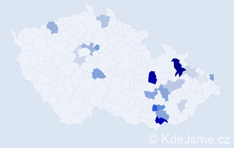Příjmení: 'Kyša', počet výskytů 46 v celé ČR
