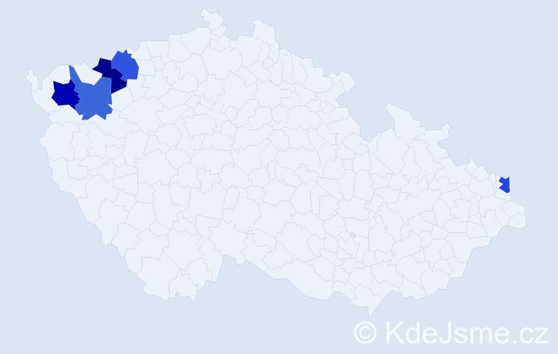 Příjmení: 'Ladenberger', počet výskytů 11 v celé ČR