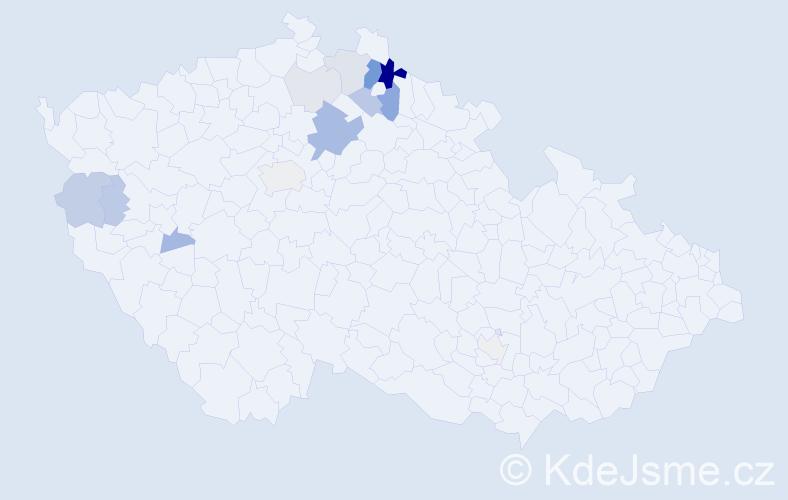 Příjmení: 'Duštírová', počet výskytů 44 v celé ČR