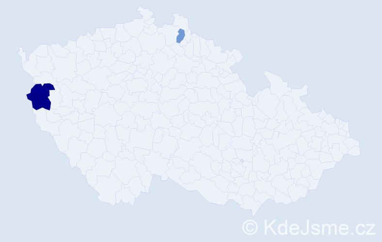 Příjmení: 'Frankenstein', počet výskytů 3 v celé ČR