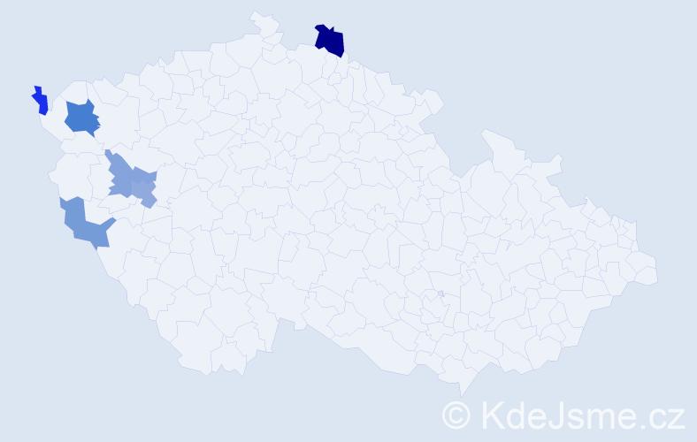 Příjmení: 'Altšmíd', počet výskytů 10 v celé ČR