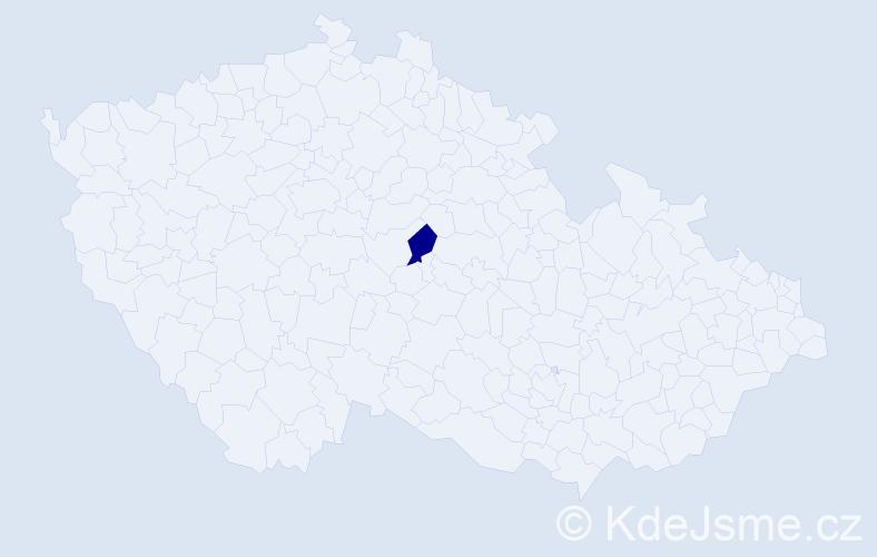 """Příjmení: '""""Andrle Vojtová""""', počet výskytů 1 v celé ČR"""