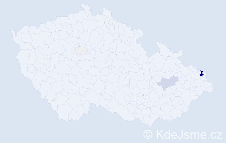 Příjmení: 'Janovčíková', počet výskytů 15 v celé ČR