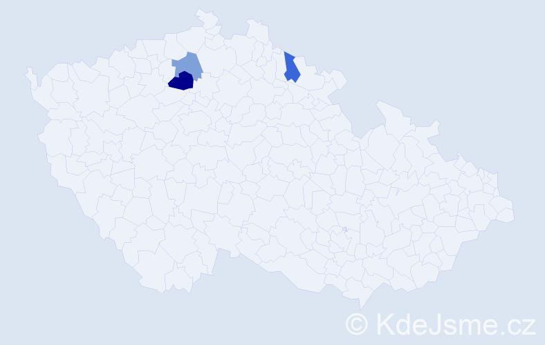 Příjmení: 'Haensel', počet výskytů 4 v celé ČR