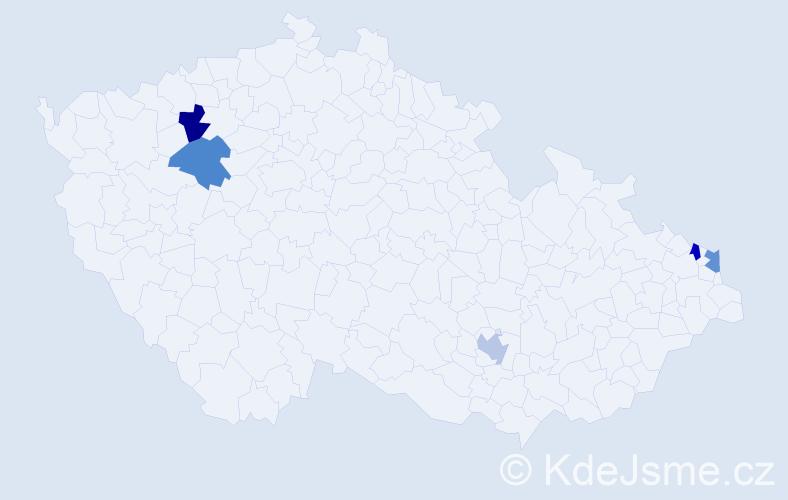Příjmení: 'Árvayová', počet výskytů 5 v celé ČR