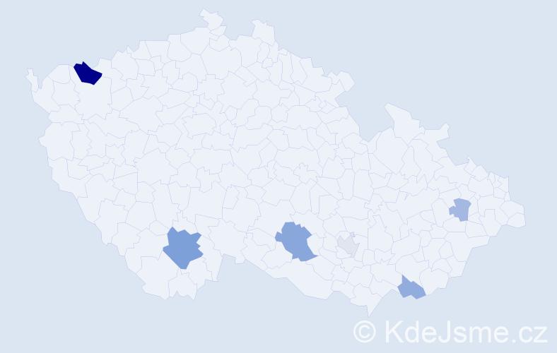 Příjmení: 'Bago', počet výskytů 13 v celé ČR
