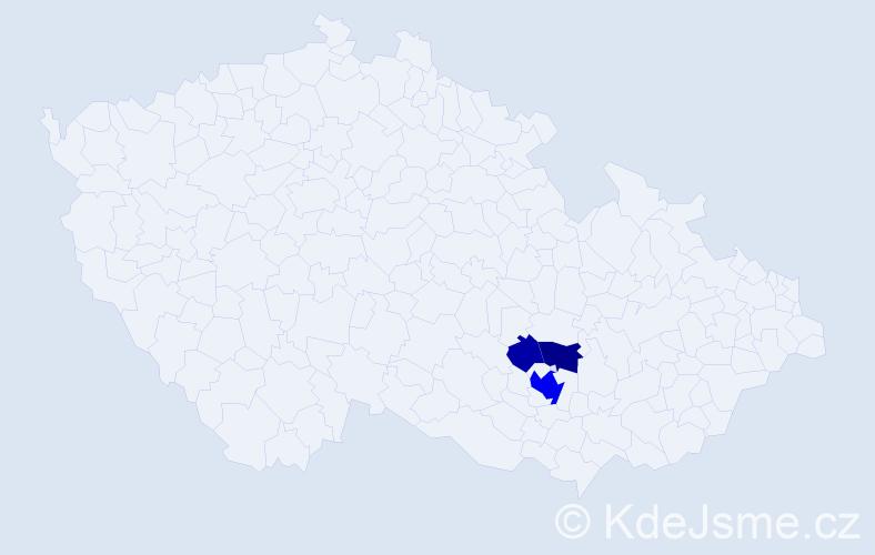 Příjmení: 'Debrecíni', počet výskytů 10 v celé ČR